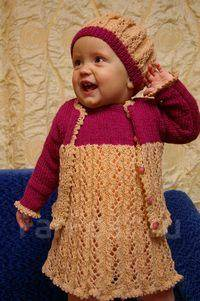 Очаровательный наборчик для девочки (сарафан, кофточка и берет). Рост: 74-80 см