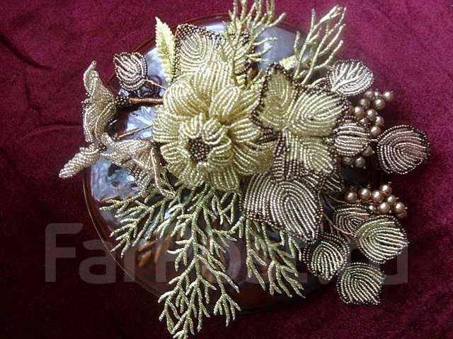 Свадебные цветы из бисера