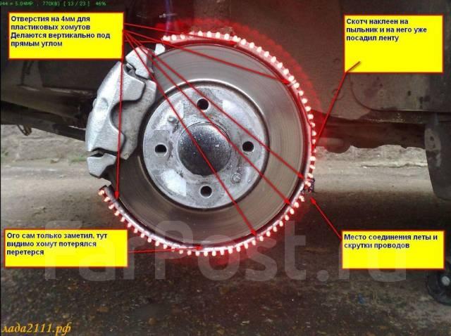 Сняв колесо, светодиодную ленту стоит примерить на место будущей установки, а именно обернуть вокруг кожуха...