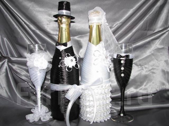 Оформление бокалов и бутылок на свадьбу своими руками фото