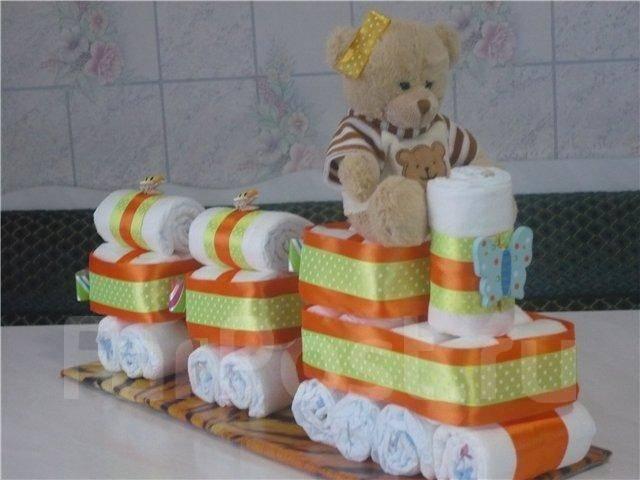 Торт из памперсов новорожденному своими руками