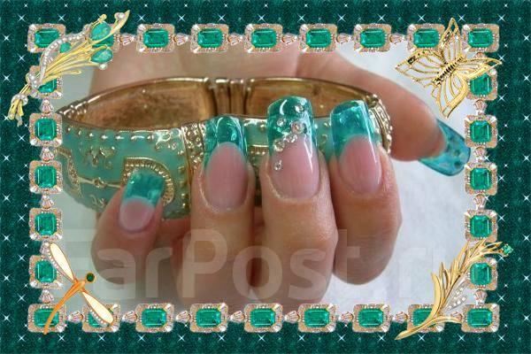 дизайн ногтей витражными гелями: