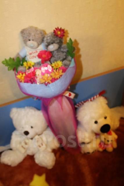 Букеты из конфет и мягких игрушек своими руками
