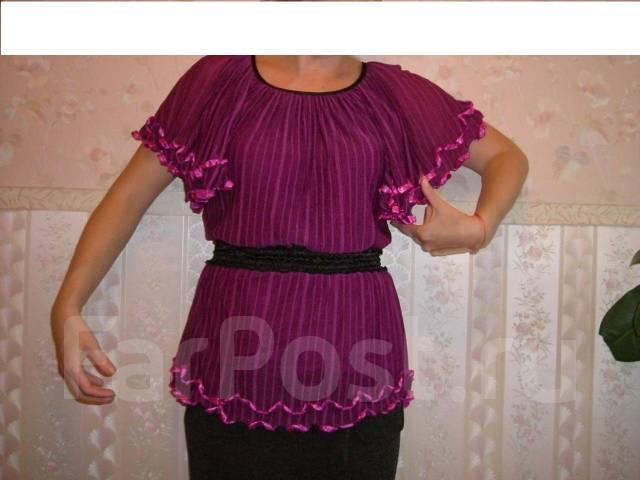 Блузка с кожаными вставками доставка
