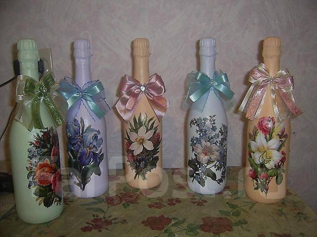 Бутылка к 8 марта своими руками