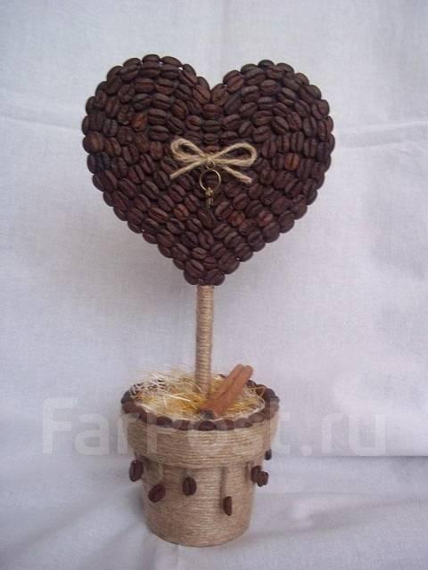Топиарий в виде сердца из кофейных зерен своими руками