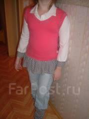 Костюм в полоску-кофта розовая +джинсы. Рост: 128-134 см