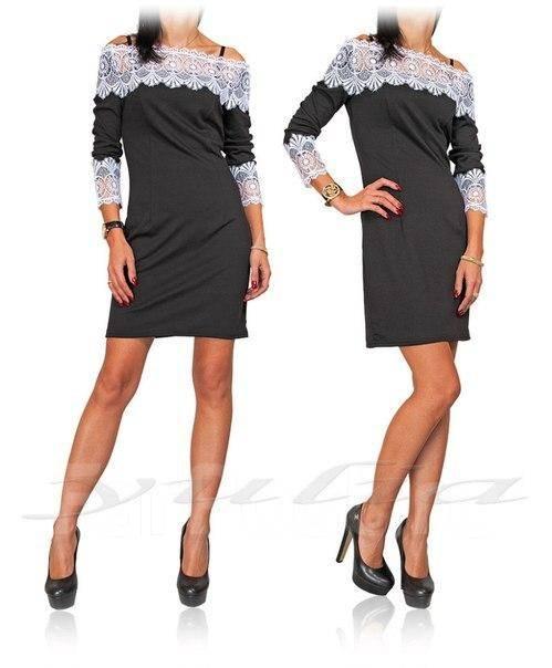 Платья черные белые с кружевом фото