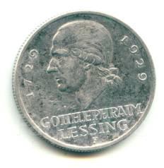 """Германия - Веймар 3 марки 1929F """"Лессинг"""" Серебро"""
