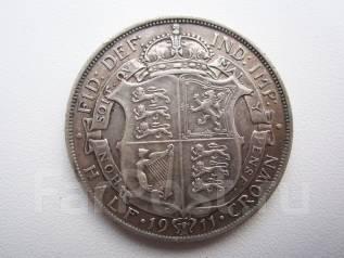 1/2 кроны Англия. Серебро. Хорошее качество.