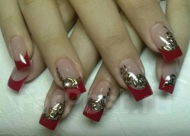 Дизайн ногтей фото френч с камнями