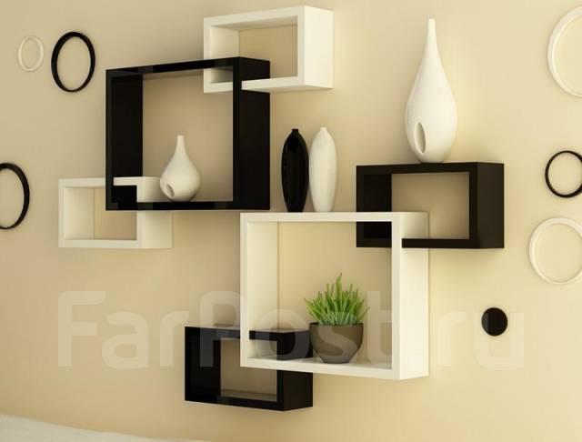 Дизайн полок на стену в гостиную