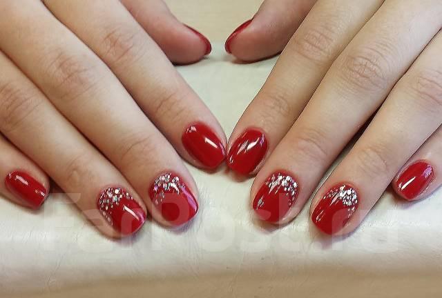 Гель лак на короткие ногти красный дизайн