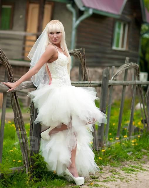 Свадебные платья короткий перед длинный низ