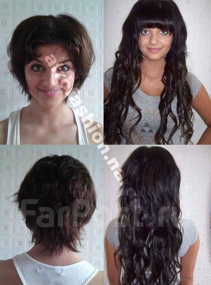 Накладные волосы на короткие волосы фото