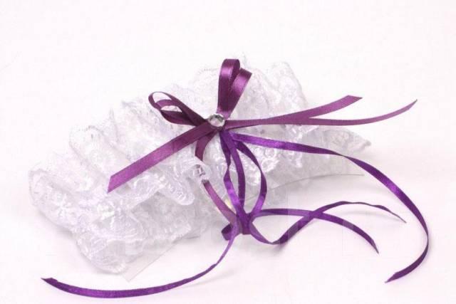 Подвязка невесты своими руками фиолетовая