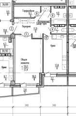 1-комнатная, Ватутина, 28. 51 кв. м., р-н 64, 71 микрорайоны, застройщик. План квартиры