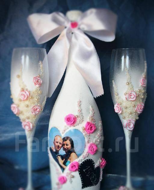 Фото как украсить бутылки шампанского на свадьбу