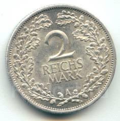 Германия - Веймар 2 марки 1926 А Серебро
