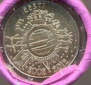 2 евро 2012год. Эстония. из ролла.