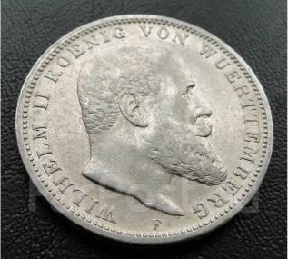 3 марки. Вюртемберг/Германия.1909 F. Вильгельм II. Серебро. XF.