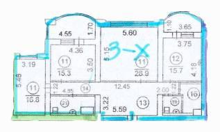 3-комнатная, улица Авроровская 30. Центр, частное лицо, 125 кв.м. План квартиры