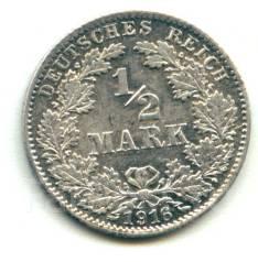 Германия 1/2 марки 1916 D Серебро