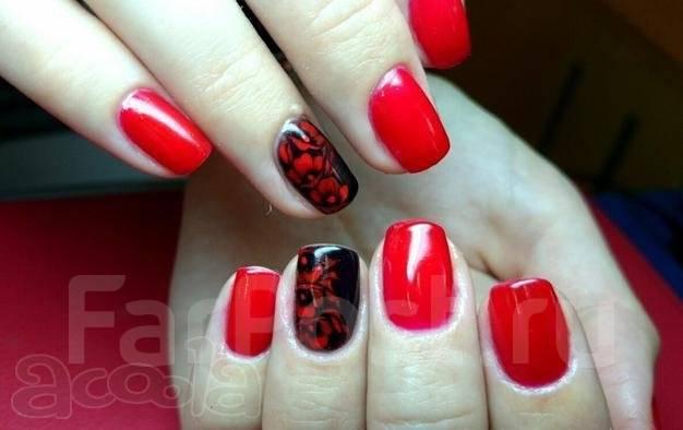 Дизайн ногтей гель лаком фото красный