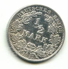 Германия 1/2 марки 1911 G Серебро
