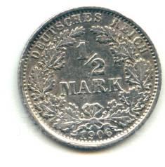 Германия 1/2 марки 1906 E Серебро
