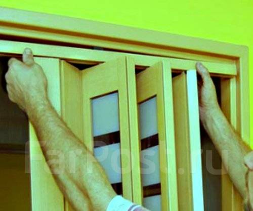 Установка межкомнатной двери гармошки своими руками