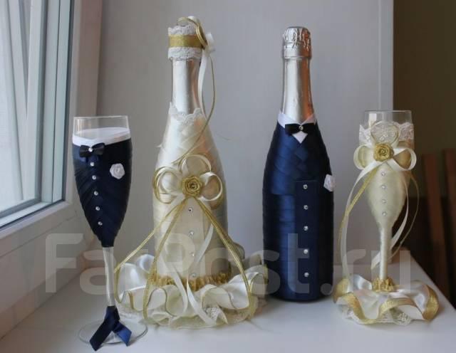 Декор шампанского для свадьбы
