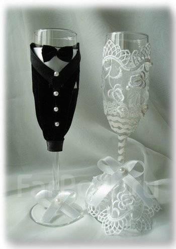 Украшение бокалов жених и невеста своими руками