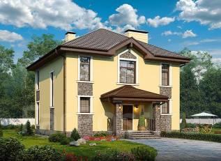 Проект дома из пеноблоков ПБ 3-167. 200-300 кв. м., 2 этажа, 5 комнат, бетон
