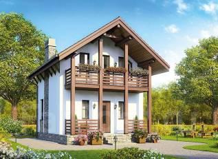 Проект дома из пеноблоков ПБ 1-53. до 100 кв. м., 2 этажа, 3 комнаты, бетон