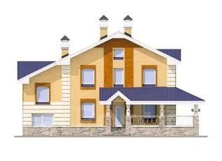 Проект дома из пеноблоков ПБ 2-220. 200-300 кв. м., 2 этажа, 10 комнат, бетон