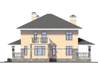 Проект дома из пеноблоков ПБ 1-200. 200-300 кв. м., 2 этажа, 9 комнат, бетон