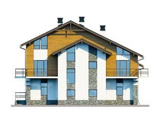 Проект дома из газобетона ПБ 3-267. 400-500 кв. м., 2 этажа, 7 комнат, бетон