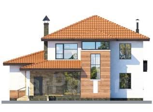 Проект дома из газобетона ПБ 3-245. 300-400 кв. м., 2 этажа, 8 комнат, бетон