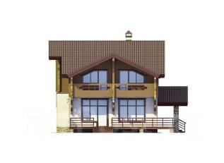 Проект дома из газобетона ПБ 2-198. 300-400 кв. м., 2 этажа, 9 комнат, бетон