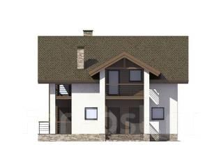 Проект дома из газобетона ПБ 1-172. 200-300 кв. м., 2 этажа, 7 комнат, бетон
