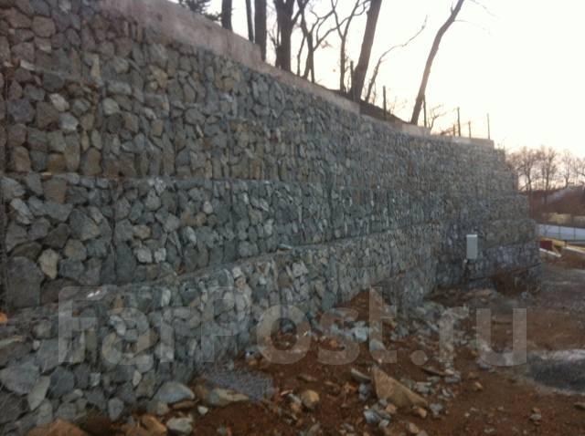Габионы, заборы, ограждения , декор камень, подпорные стены.