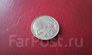 Новая Зеландия. 20 центов 1975 г. Фауна! Большая красивая монета!