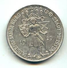 "Германия - Веймар 3 марки 1929Е ""Тысячелетие Мейсена"" Серебро"