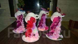 Парящая чашка с цветами. Под заказ