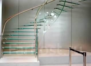 Лестницы, изготовление лестниц, стеклянные перила, ступени, ограждения