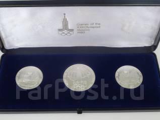 Олимпиада-80 набор из 3 монет. Серебро 900 пр. UNC. ЛМД.