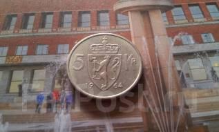 Норвегия. 5 крон 1964 года. Большая красивая монета!