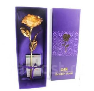 Супер! Золотая роза,24 кр, цветочное украшение и отличный подарок, лот 1