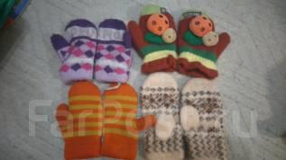Лот рукавичек для девочки. Рост: 80-86, 86-98 см